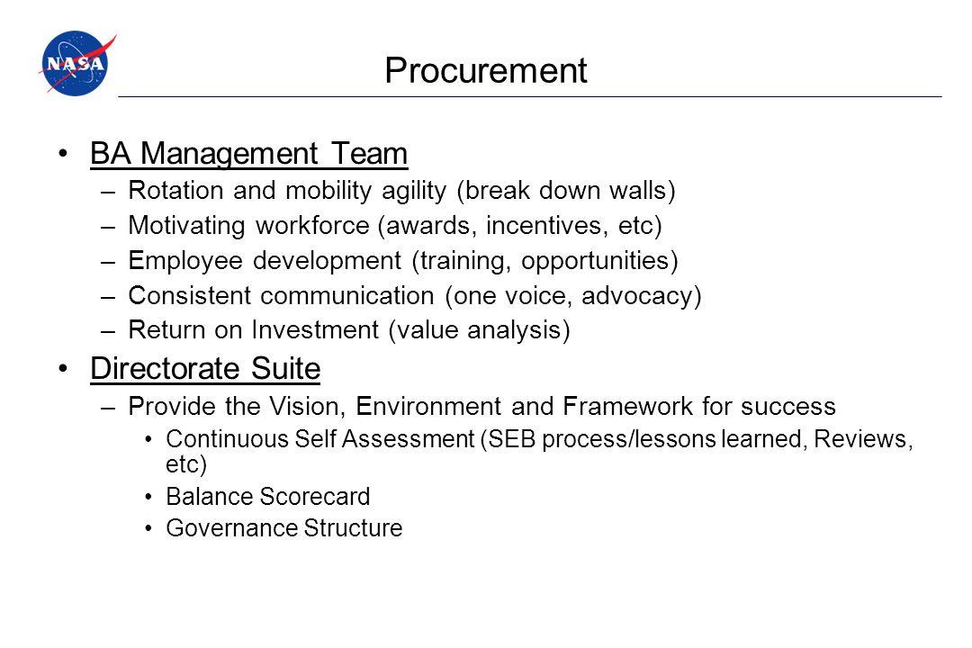Procurement BA Management Team –Rotation and mobility agility (break down walls) –Motivating workforce (awards, incentives, etc) –Employee development