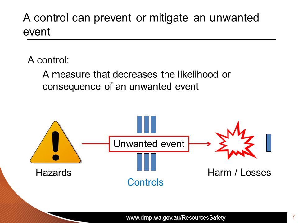 www.dmp.wa.gov.au/ResourcesSafety A control can prevent or mitigate an unwanted event A control: A measure that decreases the likelihood or consequence of an unwanted event Unwanted event Hazards Harm / Losses Controls 7