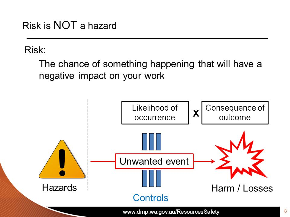 www.dmp.wa.gov.au/ResourcesSafety Risk is NOT a hazard Risk: The chance of something happening that will have a negative impact on your work Likelihood of occurrence Consequence of outcome X Unwanted event Harm / Losses Controls Hazards 8
