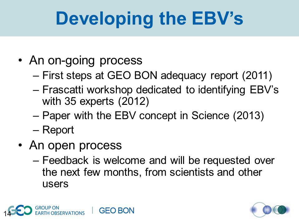 Developing the EBV's An on-going process –First steps at GEO BON adequacy report (2011) –Frascatti workshop dedicated to identifying EBV's with 35 experts (2012) –Paper with the EBV concept in Science (2013) –Report An open process –Feedback is welcome and will be requested over the next few months, from scientists and other users 14