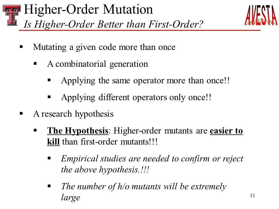 11 Higher-Order Mutation Is Higher-Order Better than First-Order.