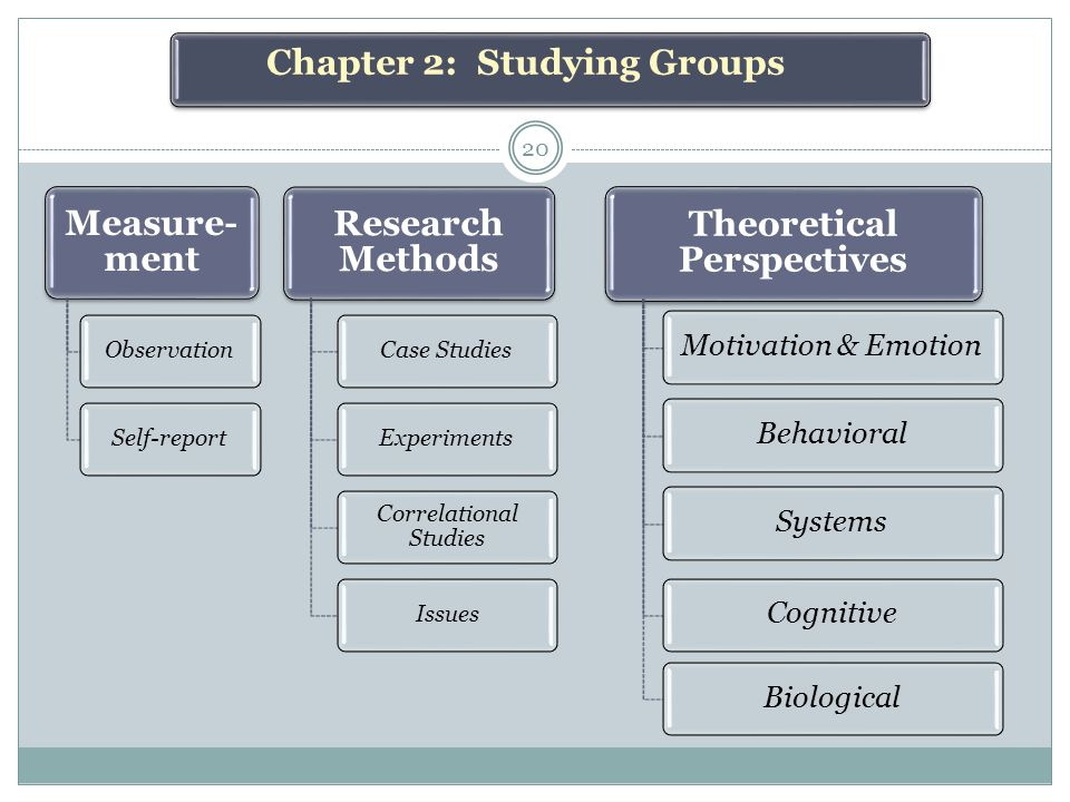 Measure- ment ObservationSelf-report Research Methods Case StudiesExperiments Correlational Studies Issues Theoretical Perspectives Motivation & EmotionBehavioralSystemsCognitiveBiological Chapter 2: Studying Groups 20