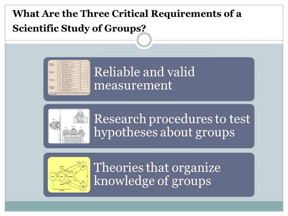 What Are the Three Critical Requirements of a Scientific Study of Groups.