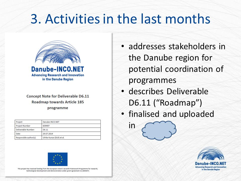 """addresses stakeholders in the Danube region for potential coordination of programmes describes Deliverable D6.11 (""""Roadmap"""") finalised and uploaded in"""