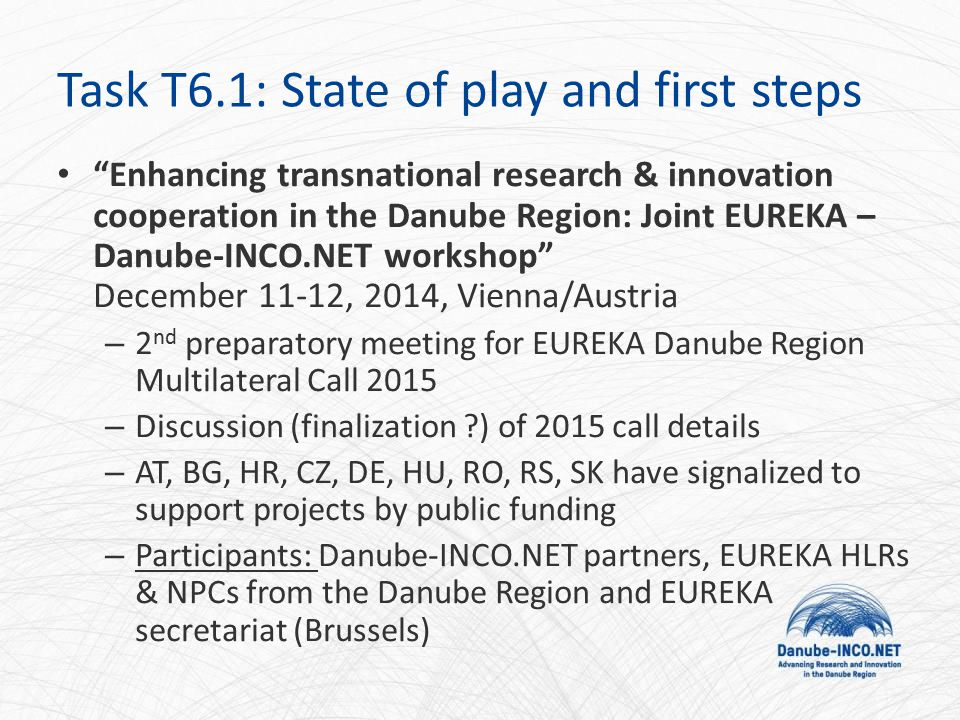 Enhancing transnational research & innovation cooperation in the Danube Region: Joint EUREKA – Danube-INCO.NET workshop December 11-12, 2014, Vienna/Austria – 2 nd preparatory meeting for EUREKA Danube Region Multilateral Call 2015 – Discussion (finalization ) of 2015 call details – AT, BG, HR, CZ, DE, HU, RO, RS, SK have signalized to support projects by public funding – Participants: Danube-INCO.NET partners, EUREKA HLRs & NPCs from the Danube Region and EUREKA secretariat (Brussels) Task T6.1: State of play and first steps
