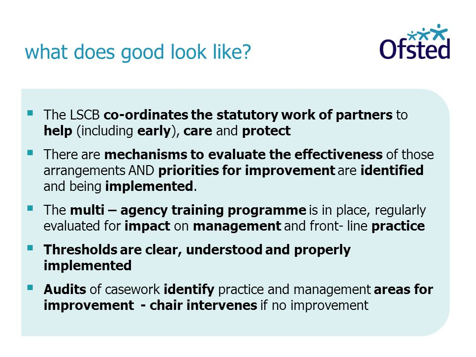 what does good look like?  The LSCB co-ordinates the statutory work of partners to help (including early), care and protect  There are mechanisms to