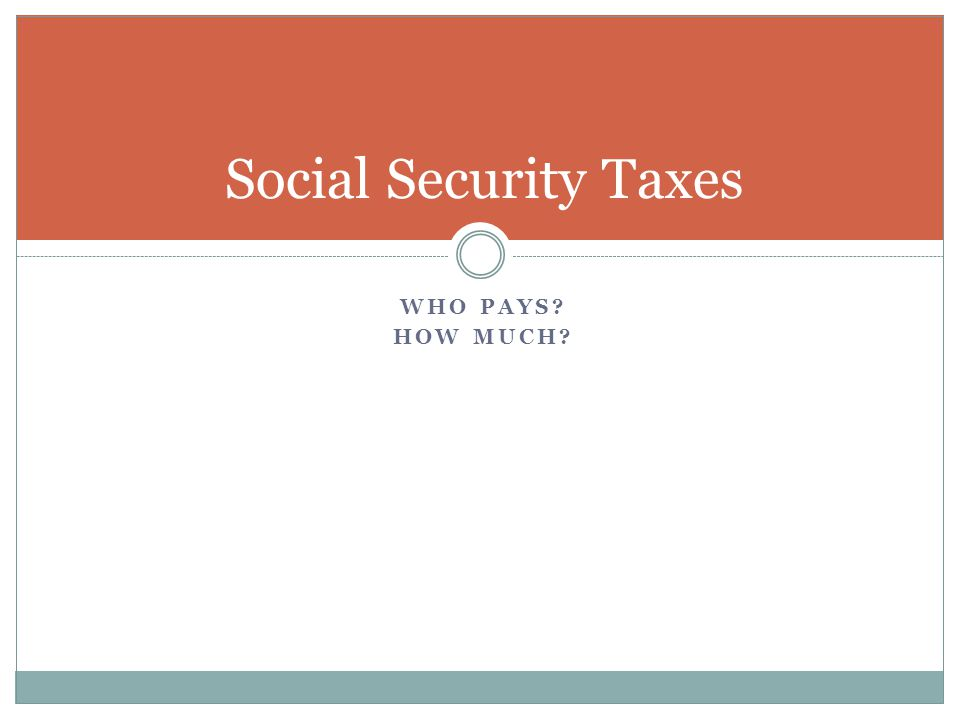 WHO PAYS HOW MUCH Social Security Taxes