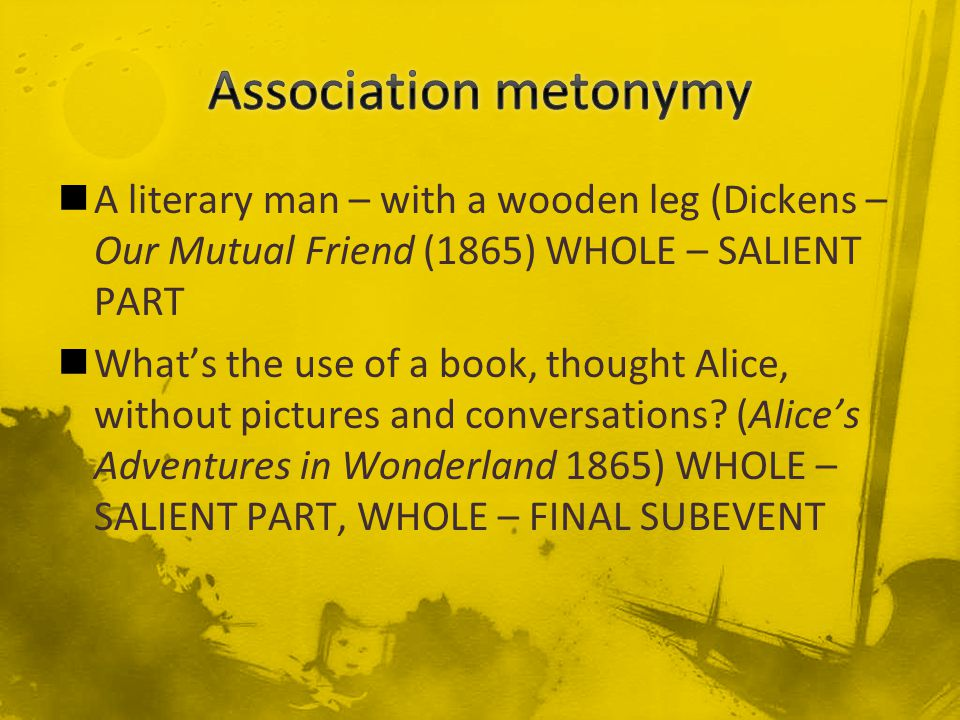 A literary man – with a wooden leg (Dickens – Our Mutual Friend (1865) WHOLE – SALIENT PART What's the use of a book, thought Alice, without pictures and conversations.