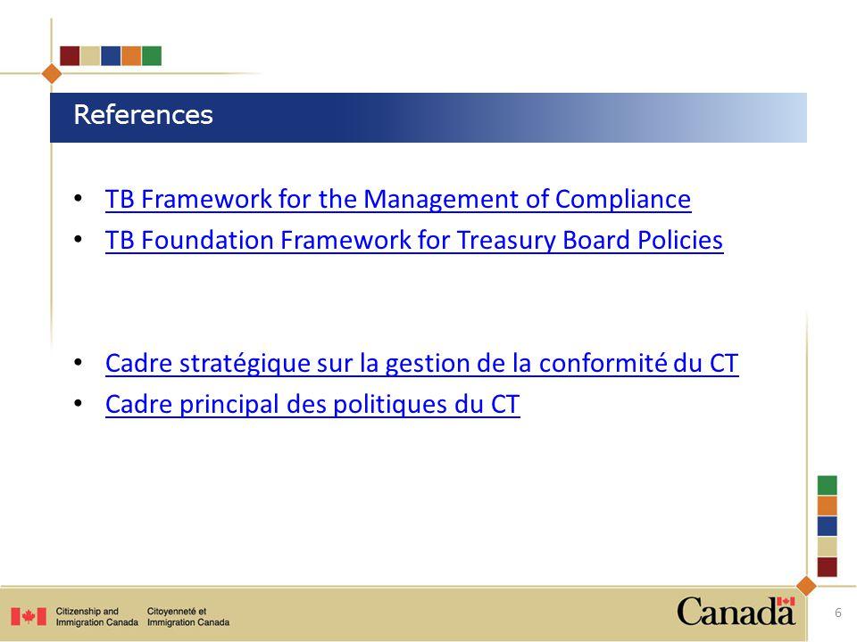 TB Framework for the Management of Compliance TB Foundation Framework for Treasury Board Policies Cadre stratégique sur la gestion de la conformité du CT Cadre principal des politiques du CT 6 References