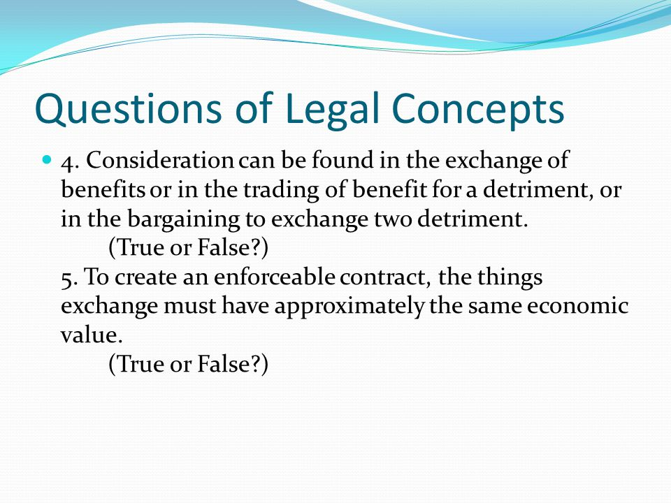 Questions of Legal Concepts 4.