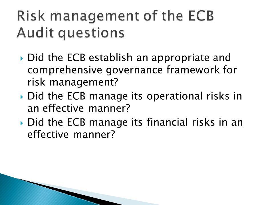  Did the ECB establish an appropriate and comprehensive governance framework for risk management.