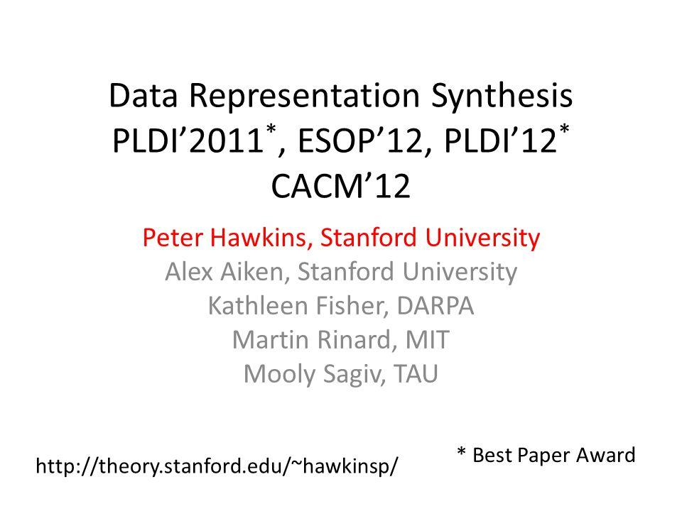 Data Representation Synthesis PLDI'2011 *, ESOP'12, PLDI'12 * CACM'12 Peter Hawkins, Stanford University Alex Aiken, Stanford University Kathleen Fisher, DARPA Martin Rinard, MIT Mooly Sagiv, TAU * Best Paper Award http://theory.stanford.edu/~hawkinsp/