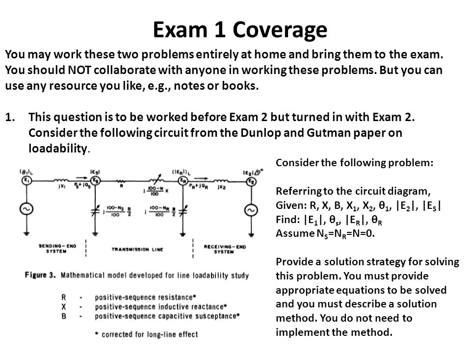 Exam 1 Coverage You may work these two problems entirely at home and bring them to the exam.