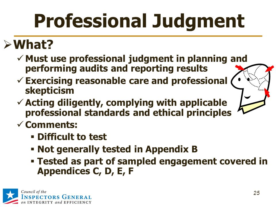 Professional Judgment  What? Must use professional judgment in planning and performing audits and reporting results Exercising reasonable care and pr