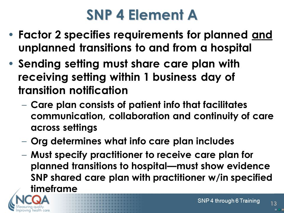 13 SNP 4 through 6 Training SNP 4 Element A Factor 2 specifies requirements for planned and unplanned transitions to and from a hospital Sending setting must share care plan with receiving setting within 1 business day of transition notification – Care plan consists of patient info that facilitates communication, collaboration and continuity of care across settings – Org determines what info care plan includes – Must specify practitioner to receive care plan for planned transitions to hospital—must show evidence SNP shared care plan with practitioner w/in specified timeframe