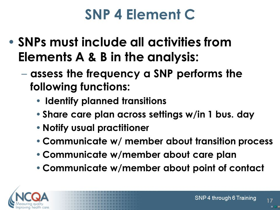 17 SNP 4 through 6 Training SNPs must include all activities from Elements A & B in the analysis: – assess the frequency a SNP performs the following functions: Identify planned transitions Share care plan across settings w/in 1 bus.