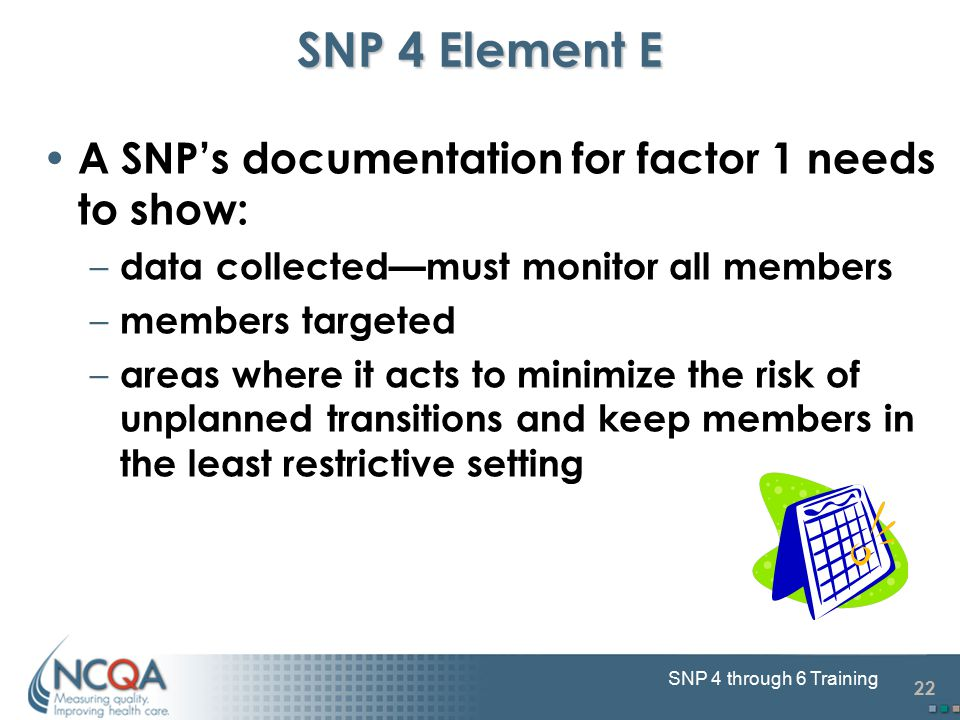 22 SNP 4 through 6 Training SNP 4 Element E A SNP's documentation for factor 1 needs to show: – data collected—must monitor all members – members targ