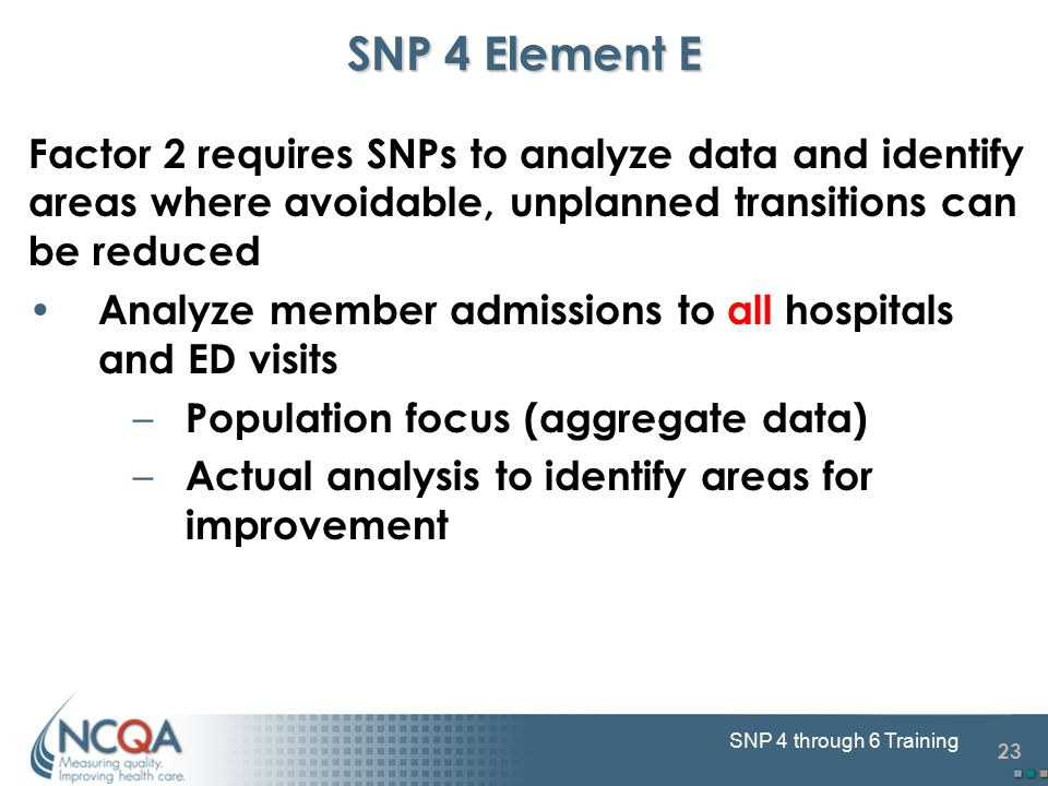 23 SNP 4 through 6 Training SNP 4 Element E Factor 2 requires SNPs to analyze data and identify areas where avoidable, unplanned transitions can be reduced Analyze member admissions to all hospitals and ED visits – Population focus (aggregate data) – Actual analysis to identify areas for improvement