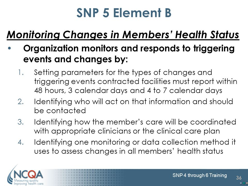 36 SNP 4 through 6 Training Monitoring Changes in Members' Health Status Organization monitors and responds to triggering events and changes by: 1.Setting parameters for the types of changes and triggering events contracted facilities must report within 48 hours, 3 calendar days and 4 to 7 calendar days 2.Identifying who will act on that information and should be contacted 3.Identifying how the member's care will be coordinated with appropriate clinicians or the clinical care plan 4.Identifying one monitoring or data collection method it uses to assess changes in all members' health status SNP 5 Element B