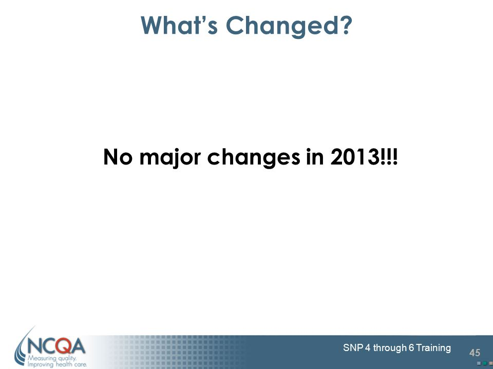45 SNP 4 through 6 Training No major changes in 2013!!! What's Changed