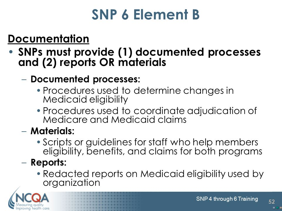 52 SNP 4 through 6 Training SNP 6 Element B Documentation SNPs must provide (1) documented processes and (2) reports OR materials – Documented process