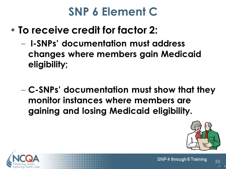 55 SNP 4 through 6 Training To receive credit for factor 2: – I-SNPs' documentation must address changes where members gain Medicaid eligibility; – C-