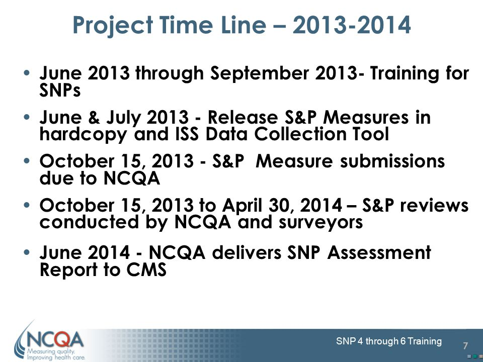 7 SNP 4 through 6 Training Project Time Line – 2013-2014 June 2013 through September 2013- Training for SNPs June & July 2013 - Release S&P Measures i