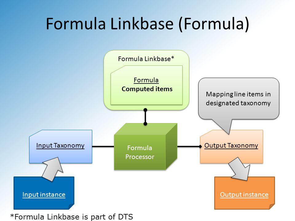 Formula Linkbase (Formula) Input Taxonomy Formula Linkbase* Formula Computed items Input instance Output Taxonomy Output instance Formula Processor Mapping line items in designated taxonomy *Formula Linkbase is part of DTS