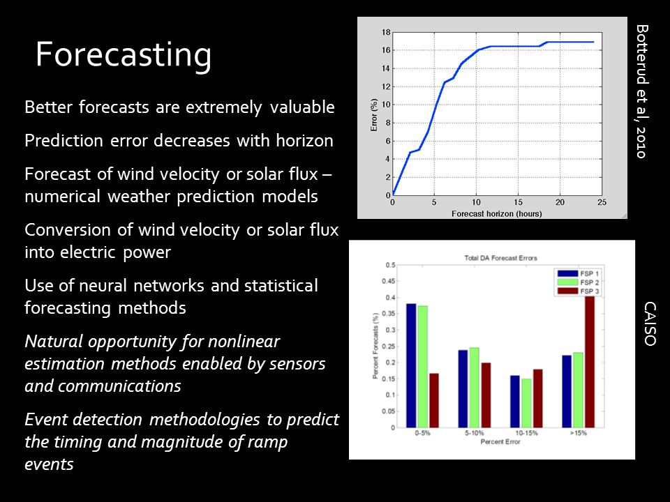 Better forecasts are extremely valuable Prediction error decreases with horizon Forecast of wind velocity or solar flux – numerical weather prediction models Conversion of wind velocity or solar flux into electric power Use of neural networks and statistical forecasting methods Natural opportunity for nonlinear estimation methods enabled by sensors and communications Event detection methodologies to predict the timing and magnitude of ramp events Forecasting Botterud et al, 2010 CAISO