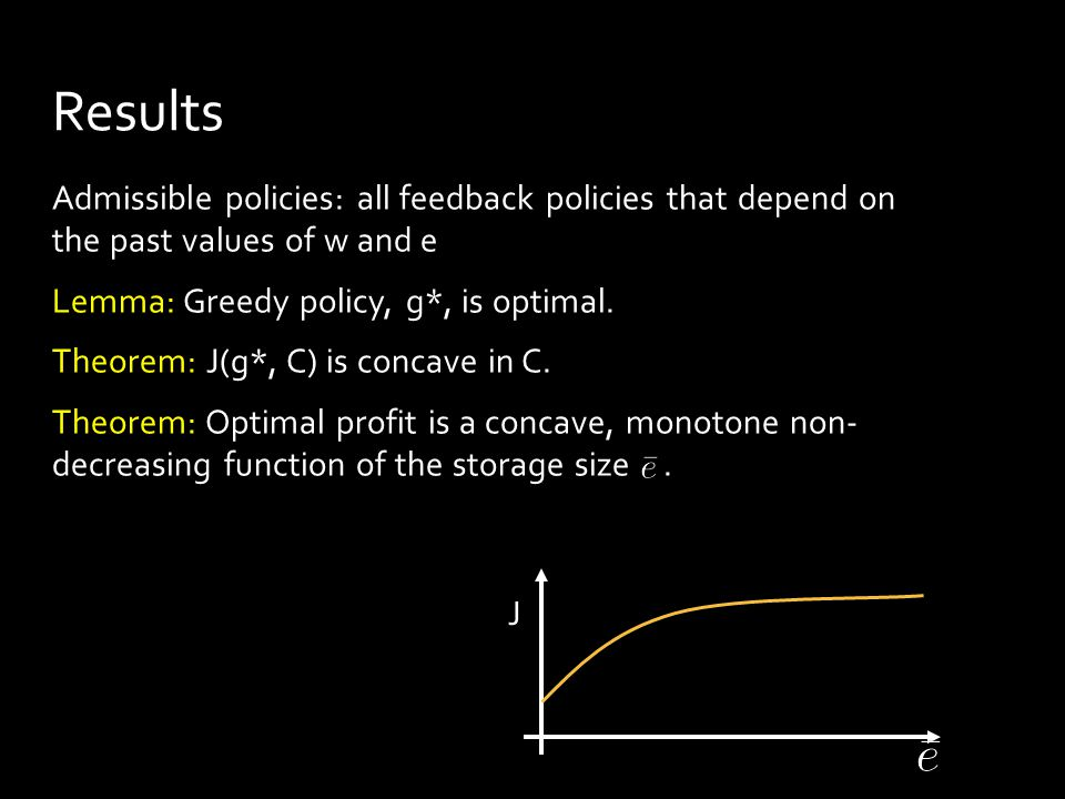 Admissible policies: all feedback policies that depend on the past values of w and e Lemma: Greedy policy, g*, is optimal.