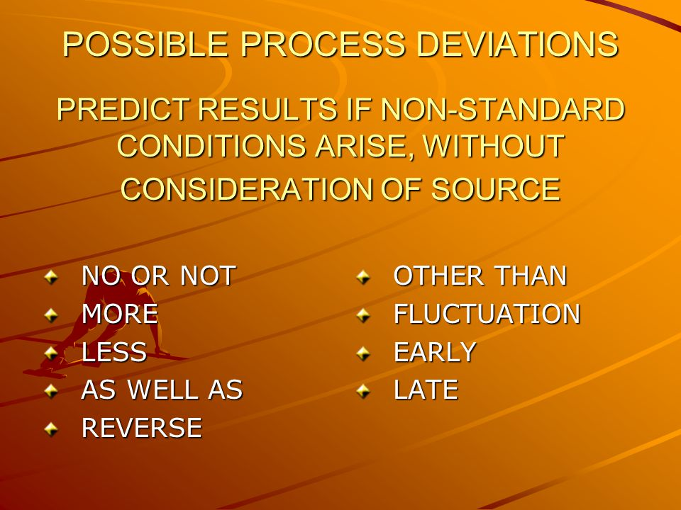 POSSIBLE PROCESS DEVIATIONS PREDICT RESULTS IF NON-STANDARD CONDITIONS ARISE, WITHOUT CONSIDERATION OF SOURCE NO OR NOT MORELESS AS WELL AS REVERSE OTHER THAN FLUCTUATIONEARLYLATE