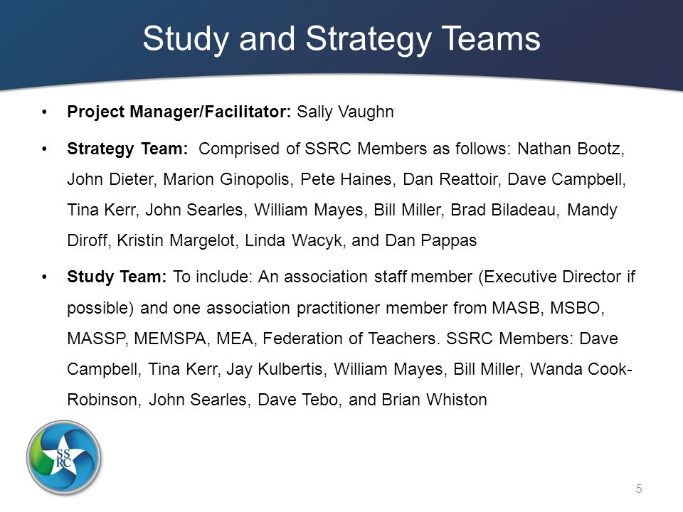 Study and Strategy Teams Project Manager/Facilitator: Sally Vaughn Strategy Team: Comprised of SSRC Members as follows: Nathan Bootz, John Dieter, Marion Ginopolis, Pete Haines, Dan Reattoir, Dave Campbell, Tina Kerr, John Searles, William Mayes, Bill Miller, Brad Biladeau, Mandy Diroff, Kristin Margelot, Linda Wacyk, and Dan Pappas Study Team: To include: An association staff member (Executive Director if possible) and one association practitioner member from MASB, MSBO, MASSP, MEMSPA, MEA, Federation of Teachers.