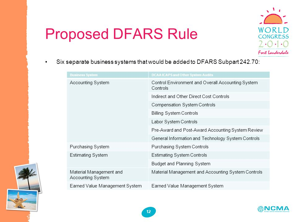 12 Proposed DFARS Rule Six separate business systems that would be added to DFARS Subpart 242.70: Business SystemDCAA ICAPS and Other System Audits Ac