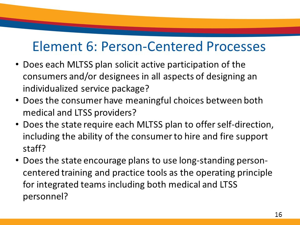 Element 6: Person-Centered Processes Does each MLTSS plan solicit active participation of the consumers and/or designees in all aspects of designing an individualized service package.