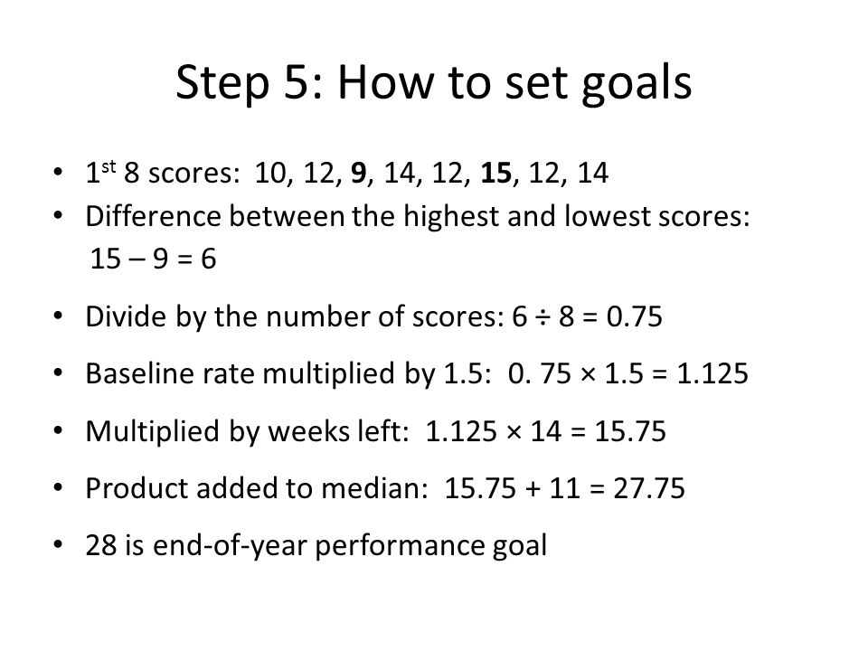 Step 5: How to set goals 1 st 8 scores: 10, 12, 9, 14, 12, 15, 12, 14 Difference between the highest and lowest scores: 15 – 9 = 6 Divide by the number of scores: 6 ÷ 8 = 0.75 Baseline rate multiplied by 1.5: 0.