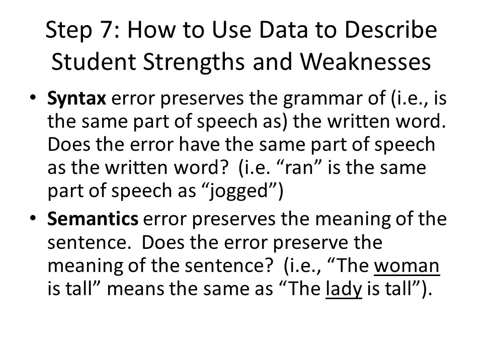 Step 7: How to Use Data to Describe Student Strengths and Weaknesses Syntax error preserves the grammar of (i.e., is the same part of speech as) the written word.
