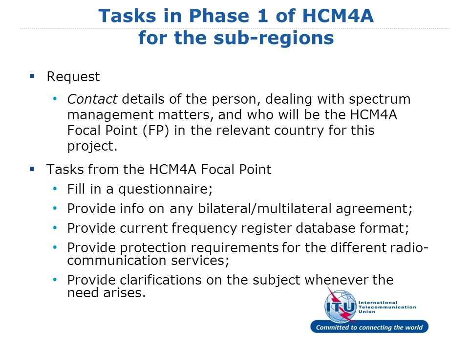  Request Contact details of the person, dealing with spectrum management matters, and who will be the HCM4A Focal Point (FP) in the relevant country