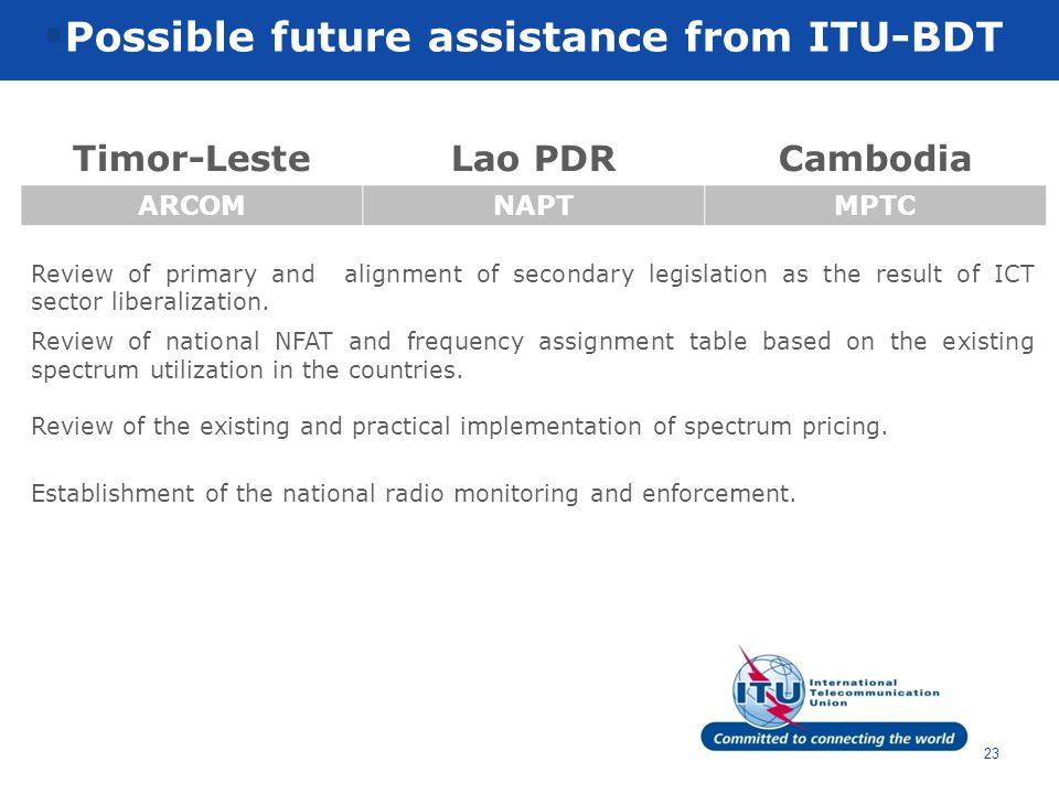 text 23  Possible future assistance from ITU-BDT Timor-LesteLao PDRCambodia ARCOMNAPTMPTC Review of primary and alignment of secondary legislation as