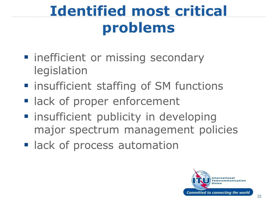 text 25 Identified most critical problems  inefficient or missing secondary legislation  insufficient staffing of SM functions  lack of proper enfo