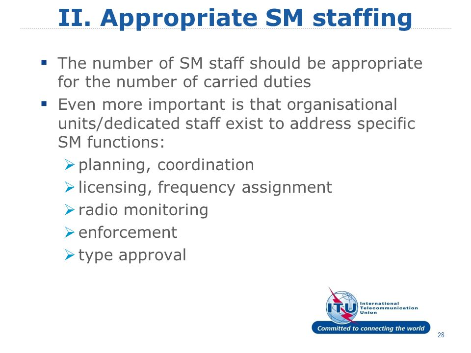 text 28 II. Appropriate SM staffing  The number of SM staff should be appropriate for the number of carried duties  Even more important is that orga