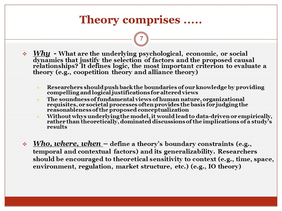 Theory comprises.....