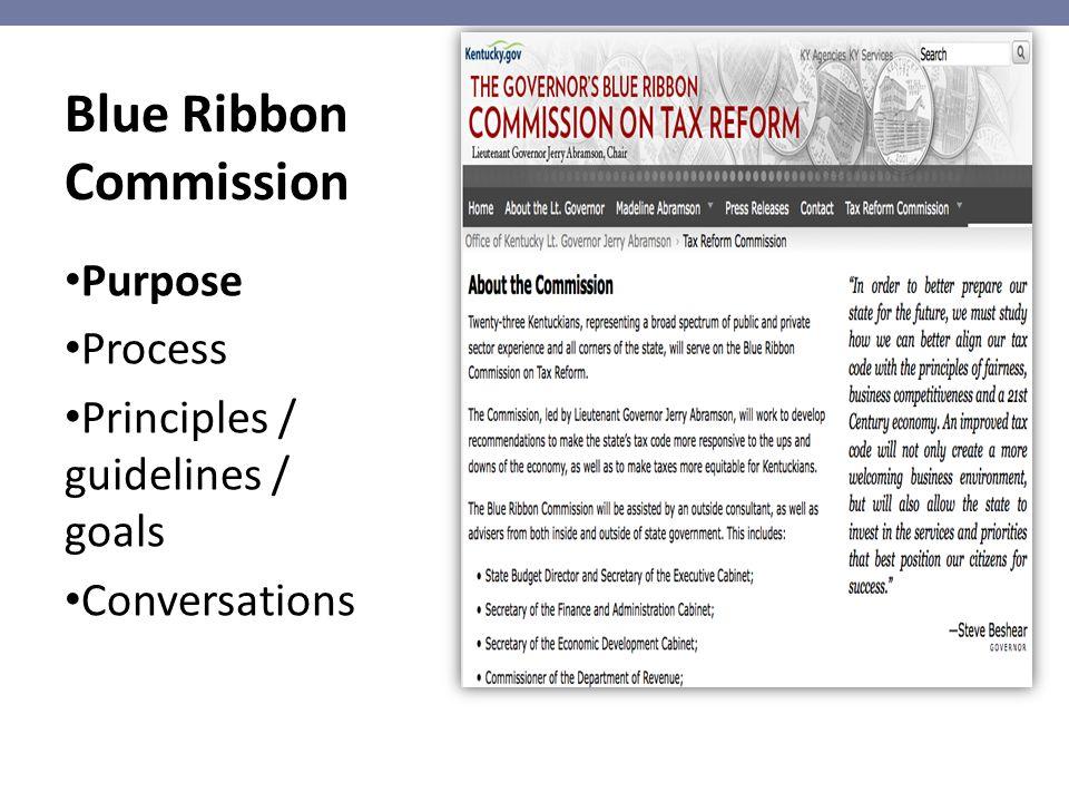 Blue Ribbon Commission Purpose Process Principles / guidelines / goals Conversations