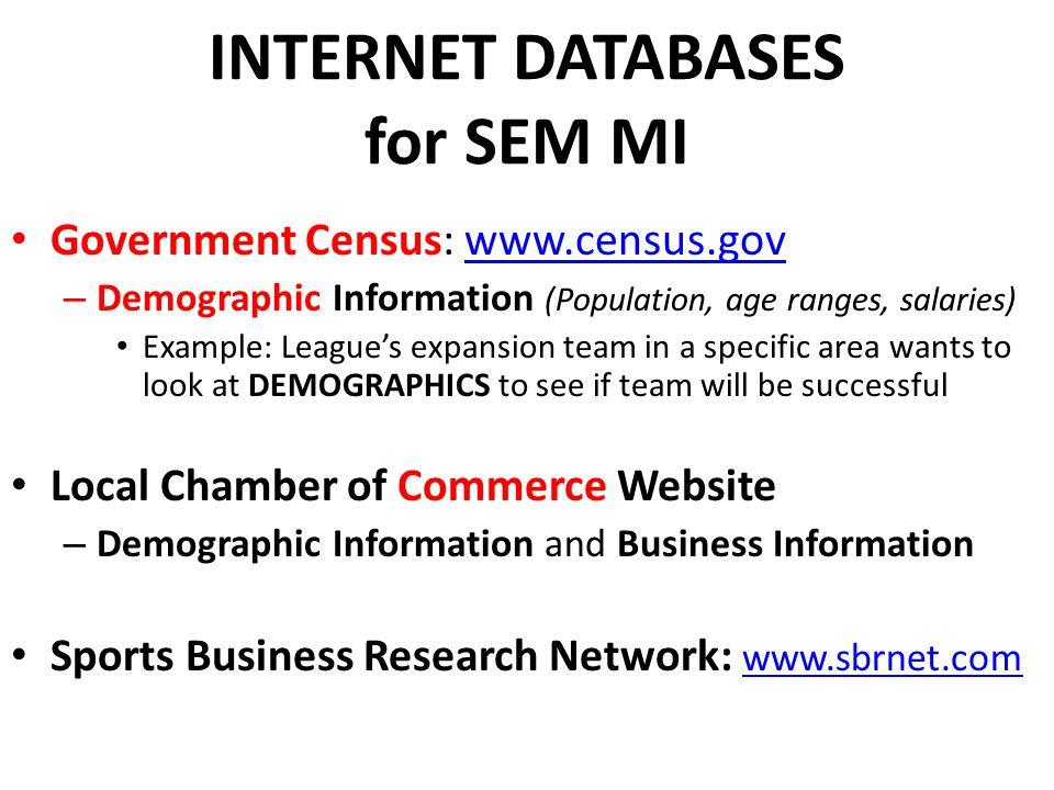 INTERNET DATABASES for SEM MI Government Census: www.census.govwww.census.gov – Demographic Information (Population, age ranges, salaries) Example: Le