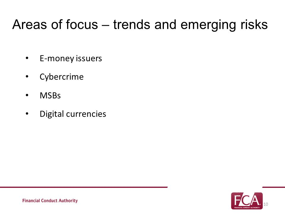 Areas of focus – trends and emerging risks E-money issuers Cybercrime MSBs Digital currencies 10