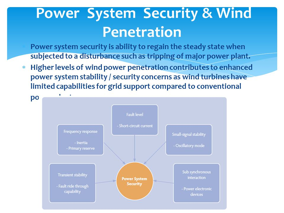  Power system security is ability to regain the steady state when subjected to a disturbance such as tripping of major power plant.