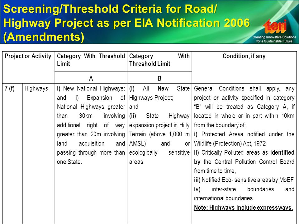 Project or ActivityCategory With Threshold Limit Condition, if any AB 7 (f) Highways i) New National Highways; and ii) Expansion of National Highways