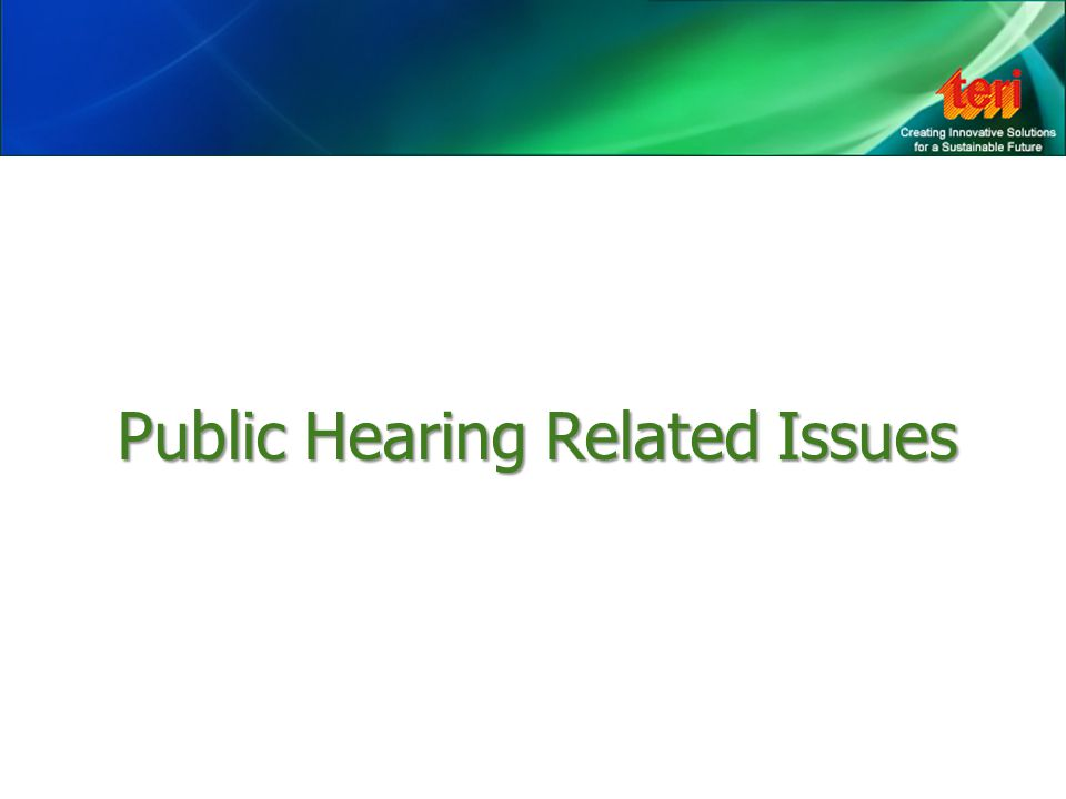 PublicHearingRelatedIssues Public Hearing Related Issues
