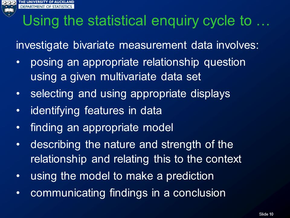 Slide 10 Using the statistical enquiry cycle to … investigate bivariate measurement data involves: posing an appropriate relationship question using a