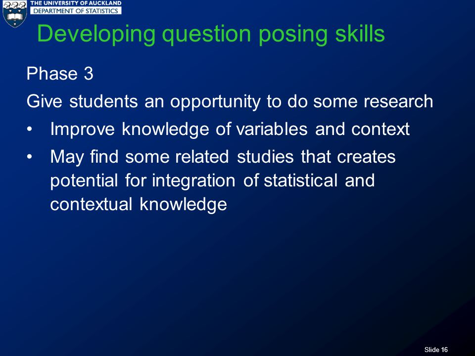 Slide 16 Developing question posing skills Phase 3 Give students an opportunity to do some research Improve knowledge of variables and context May find some related studies that creates potential for integration of statistical and contextual knowledge