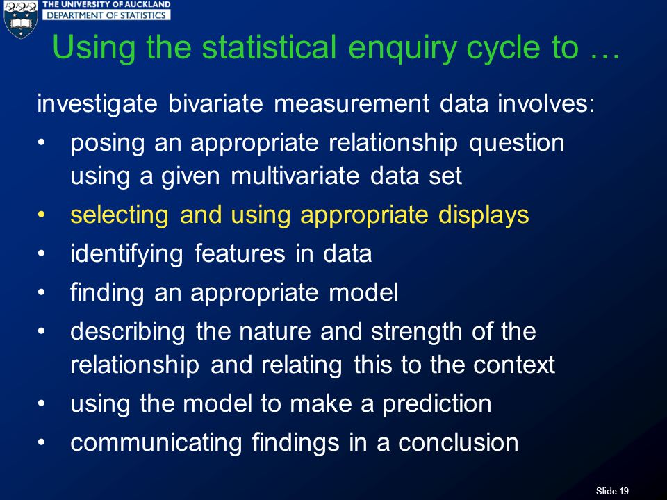 Slide 19 Using the statistical enquiry cycle to … investigate bivariate measurement data involves: posing an appropriate relationship question using a given multivariate data set selecting and using appropriate displays identifying features in data finding an appropriate model describing the nature and strength of the relationship and relating this to the context using the model to make a prediction communicating findings in a conclusion